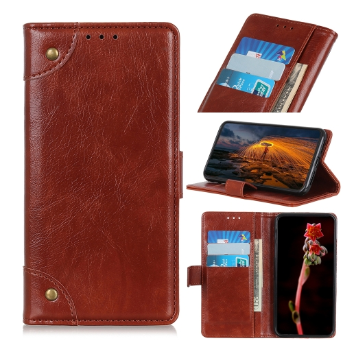For Honor 9X Lite   Copper Buckle Nappa Texture Horizontal Flip Leather Case with Holder & Card Slots & Wallet(Brown)