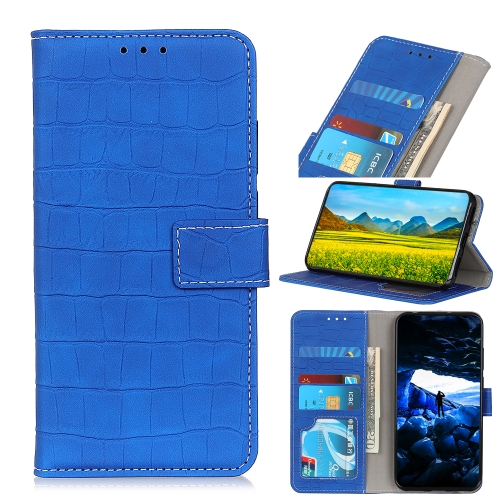 For Honor 9X Lite   Crocodile Texture Horizontal Flip Leather Case with Holder & Card Slots & Wallet(Blue)