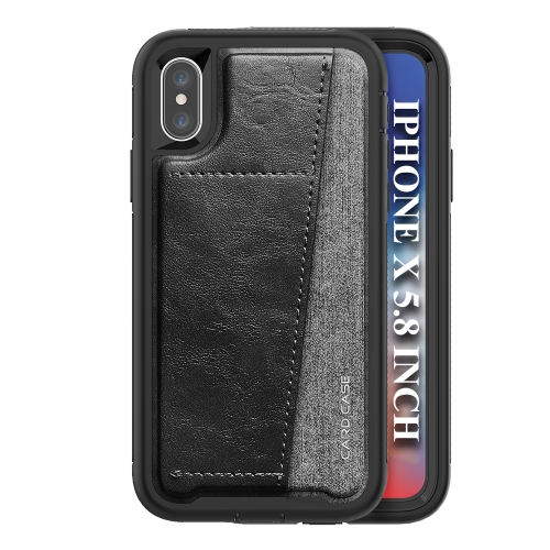 For IPhone X/Xs/10   Shockproof PC + TPU + PU Leather Protective Case with Card Slot(Black)