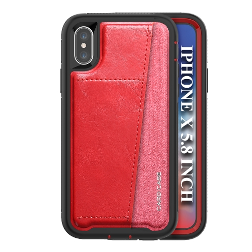 For IPhone X/Xs/10   Shockproof PC + TPU + PU Leather Protective Case with Card Slot(Red)