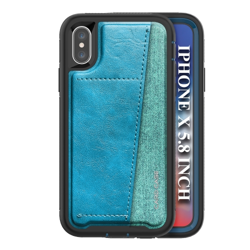 For IPhone X/Xs/10   Shockproof PC + TPU + PU Leather Protective Case with Card Slot(Blue)
