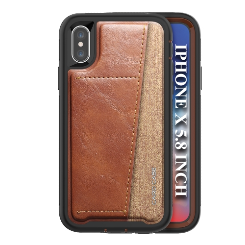 For IPhone X/Xs/10   Shockproof PC + TPU + PU Leather Protective Case with Card Slot(Brown)
