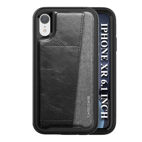 For iPhone XR   Shockproof PC + TPU + PU Leather Protective Case with Card Slot(Black)
