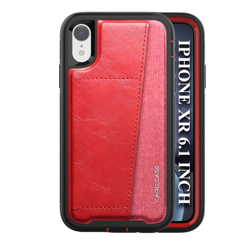 For iPhone XR   Shockproof PC + TPU + PU Leather Protective Case with Card Slot(Red)