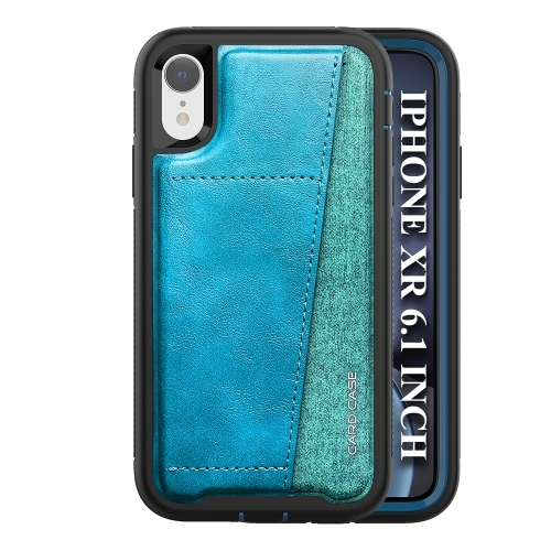 For iPhone XR   Shockproof PC + TPU + PU Leather Protective Case with Card Slot(Blue)