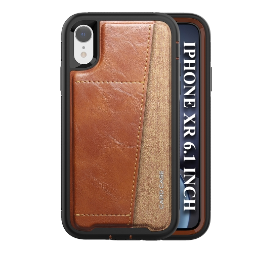 For iPhone XR   Shockproof PC + TPU + PU Leather Protective Case with Card Slot(Brown)