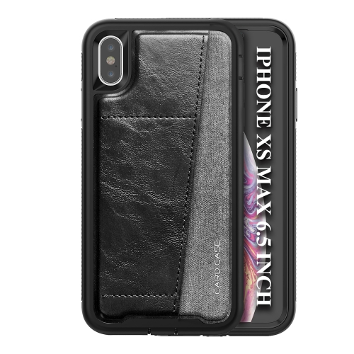 For iPhone XS Max   Shockproof PC + TPU + PU Leather Protective Case with Card Slot(Black)