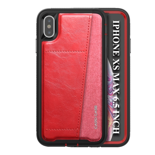 For iPhone XS Max   Shockproof PC + TPU + PU Leather Protective Case with Card Slot(Red)