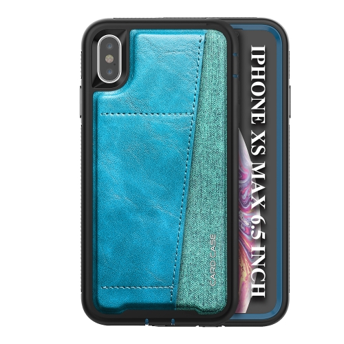 For iPhone XS Max   Shockproof PC + TPU + PU Leather Protective Case with Card Slot(Blue)