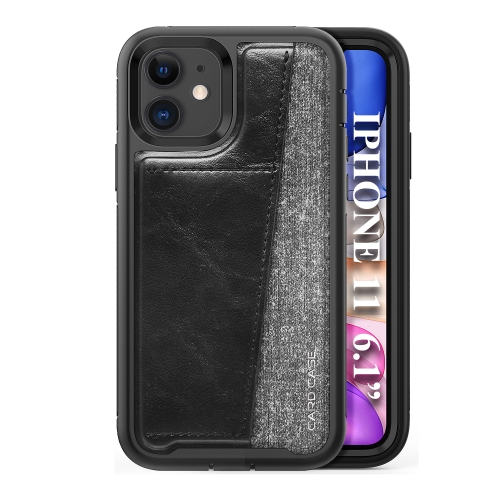 For iPhone 11   Shockproof PC + TPU + PU Leather Protective Case with Card Slot(Black)