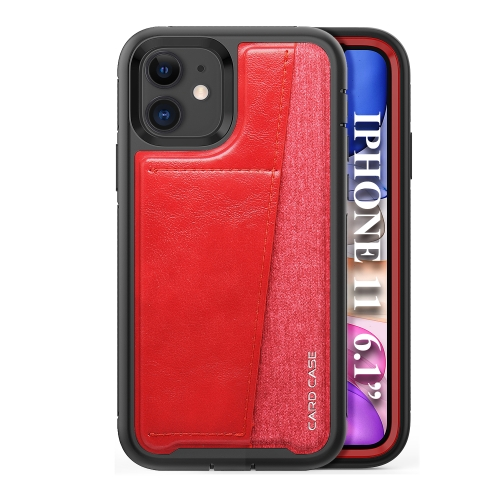 For iPhone 11   Shockproof PC + TPU + PU Leather Protective Case with Card Slot(Red)
