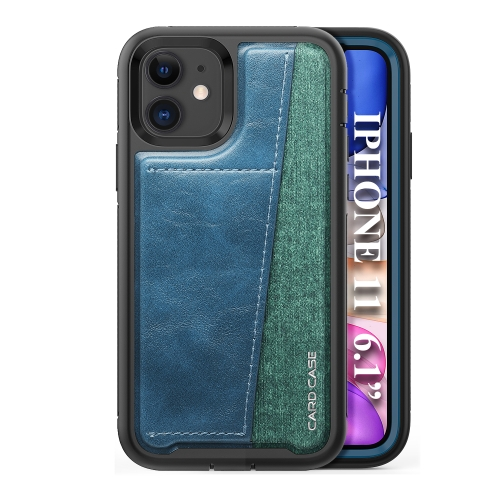 For iPhone 11   Shockproof PC + TPU + PU Leather Protective Case with Card Slot(Blue)