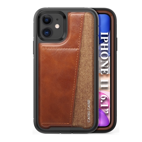 For iPhone 11   Shockproof PC + TPU + PU Leather Protective Case with Card Slot(Brown)
