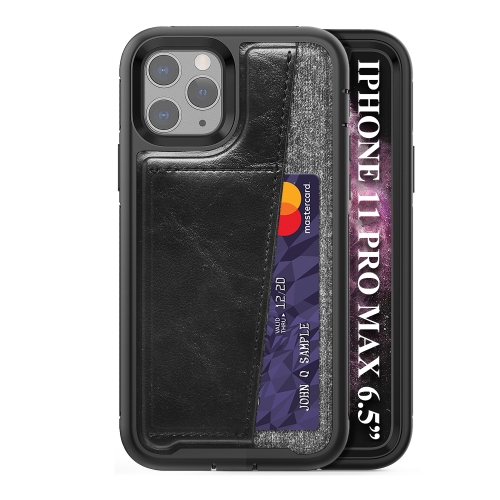 For iPhone 11 Pro Max   Shockproof PC + TPU + PU Leather Protective Case with Card Slot(Black)