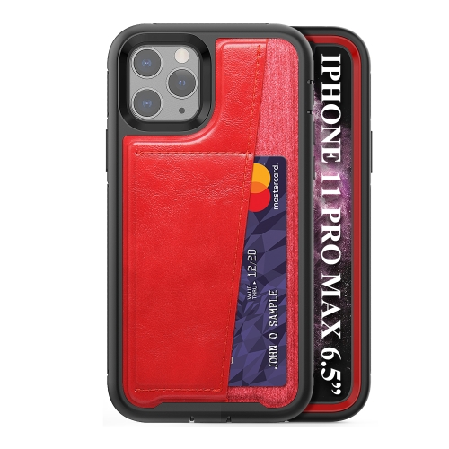 For iPhone 11 Pro Max   Shockproof PC + TPU + PU Leather Protective Case with Card Slot(Red)