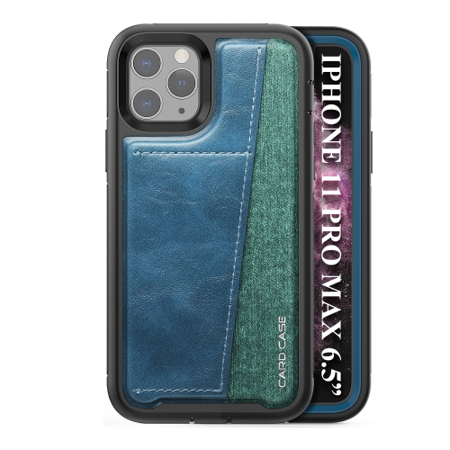 For iPhone 11 Pro Max   Shockproof PC + TPU + PU Leather Protective Case with Card Slot(Blue)