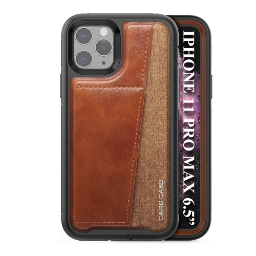 For iPhone 11 Pro Max   Shockproof PC + TPU + PU Leather Protective Case with Card Slot(Brown)