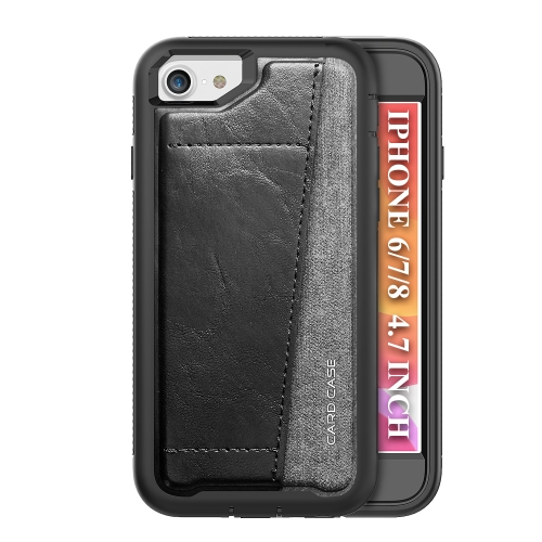 For iPhone SE 2020 / 8 / 7   Shockproof PC + TPU + PU Leather Protective Case with Card Slot(Black)