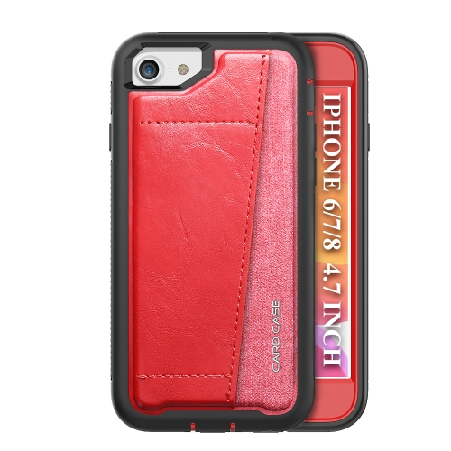 For iPhone SE 2020 / 8 / 7   Shockproof PC + TPU + PU Leather Protective Case with Card Slot(Red)