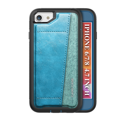 For iPhone SE 2020 / 8 / 7   Shockproof PC + TPU + PU Leather Protective Case with Card Slot(Blue)