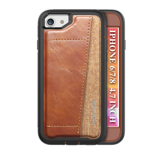 For iPhone SE 2020 / 8 / 7   Shockproof PC + TPU + PU Leather Protective Case with Card Slot(Brown)