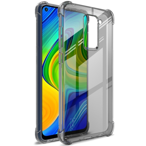 For Xiaomi Redmi Note 9/Redmi 10X   Full Coverage Shockproof TPU Protective Case(Transparent Black)
