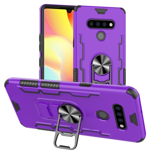 For LG K51 / Q51   Shockproof PC + TPU Protective Case with Beer Opener & Car Holder(Purple)