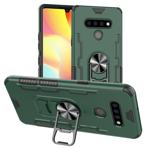 For LG K51 / Q51   Shockproof PC + TPU Protective Case with Beer Opener & Car Holder(Green)