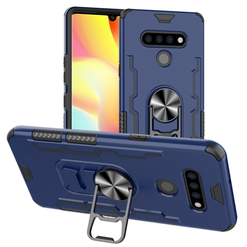 For LG K51 / Q51   Shockproof PC + TPU Protective Case with Beer Opener & Car Holder(Blue)