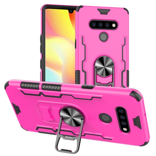 For LG K51 / Q51   Shockproof PC + TPU Protective Case with Beer Opener & Car Holder(Pink)