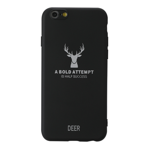For Iphone 6/6S   Elk Pattern Shockproof Frosted TPU Protective Case(Black)