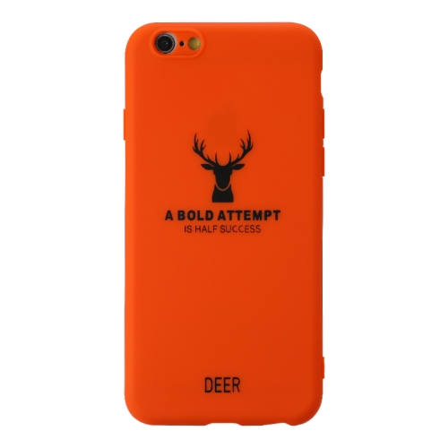 For Iphone 6/6S   Elk Pattern Shockproof Frosted TPU Protective Case(Orange)