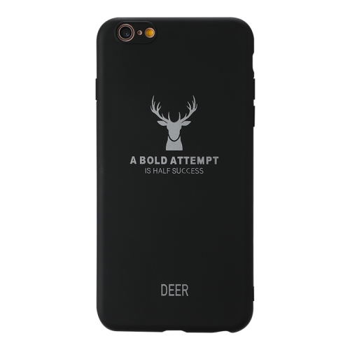 For Iphone 6 Plus / 6S Plus    Elk Pattern Shockproof Frosted TPU Protective Case(Black)