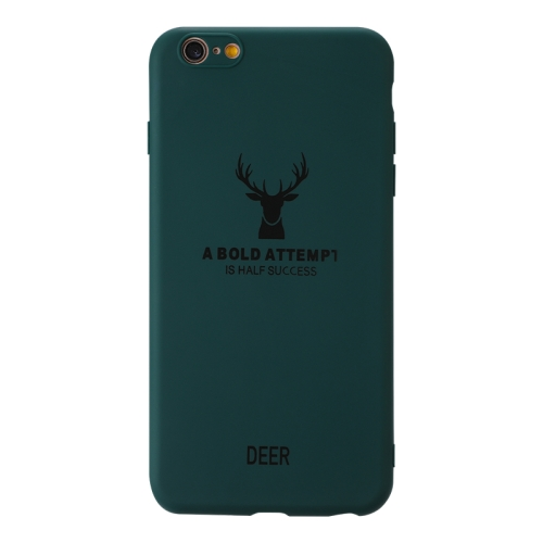 For Iphone 6 Plus / 6S Plus   Elk Pattern Shockproof Frosted TPU Protective Case(Green)