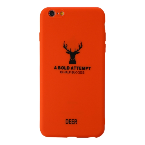 For Iphone 6 Plus / 6S Plus   Elk Pattern Shockproof Frosted TPU Protective Case(Orange)