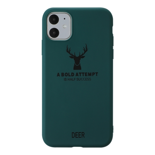 For iPhone 11   Elk Pattern Shockproof Frosted TPU Protective Case(Green)