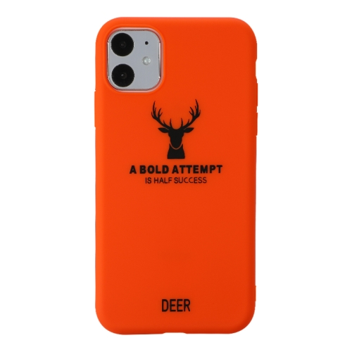 For iPhone 11   Elk Pattern Shockproof Frosted TPU Protective Case(Orange)