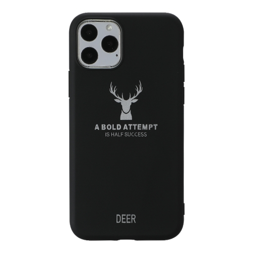 For iPhone 11 Pro   Elk Pattern Shockproof Frosted TPU Protective Case(Black)