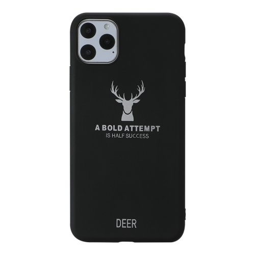 For iPhone 11 Pro Max   Elk Pattern Shockproof Frosted TPU Protective Case(Black)