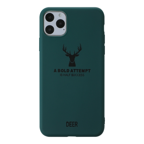 For iPhone 11 Pro Max   Elk Pattern Shockproof Frosted TPU Protective Case(Green)
