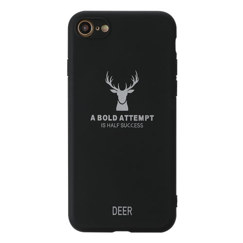For iPhone SE 2020 / 8 / 7   Elk Pattern Shockproof Frosted TPU Protective Case(Black)