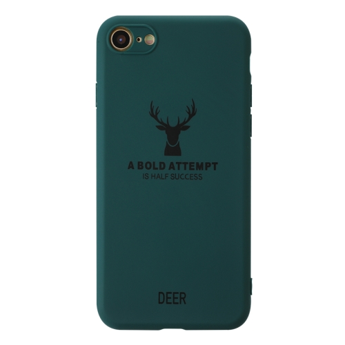 For iPhone SE 2020 / 8 / 7   Elk Pattern Shockproof Frosted TPU Protective Case(Green)
