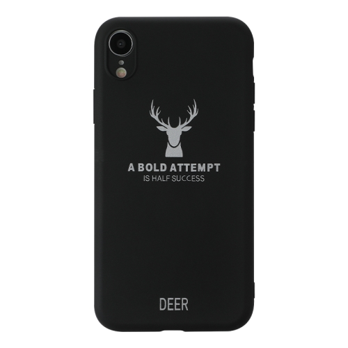For iPhone XR   Elk Pattern Shockproof Frosted TPU Protective Case(Black)