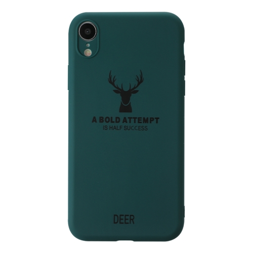 For iPhone XR   Elk Pattern Shockproof Frosted TPU Protective Case(Green)