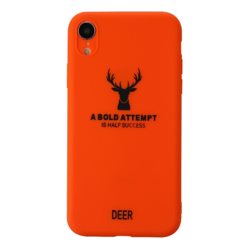 For iPhone XR   Elk Pattern Shockproof Frosted TPU Protective Case(Orange)