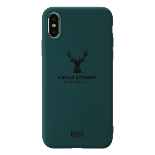 For iPhone X / XS   Elk Pattern Shockproof Frosted TPU Protective Case(Green)