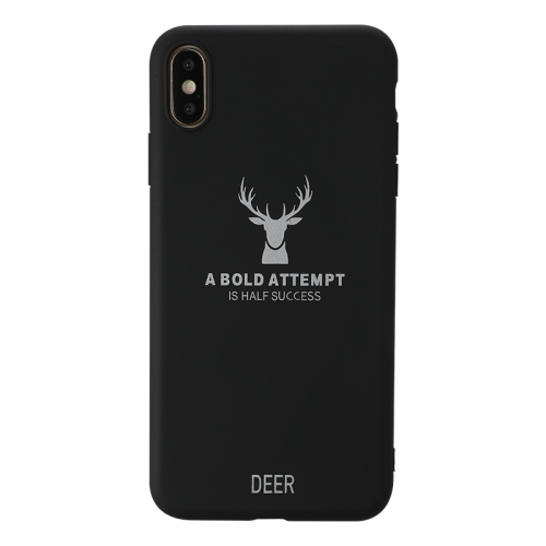 For iPhone XS Max   Elk Pattern Shockproof Frosted TPU Protective Case(Black)