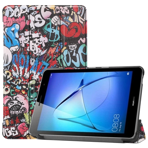 For Huawei MatePad T8 Coloured Drawing Pattern Horizontal Flip Leather Case with Three-folding Holder(Graffiti)