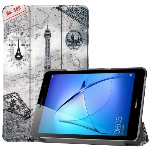 For Huawei MatePad T8 Coloured Drawing Pattern Horizontal Flip Leather Case with Three-folding Holder(Retro Tower)