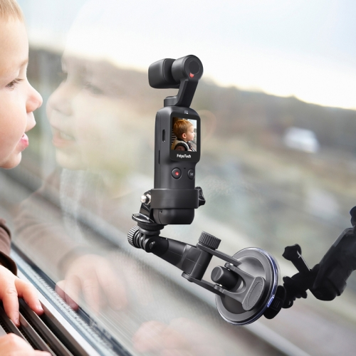 For DJI OSMO Feiyu Pocket STARTRC Pocket Camera Body Expansion Accessories Glass Car Suction Cup Holder(Black)